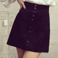 Black High Waist Button Up Mini Skirt