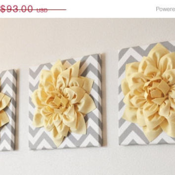 "MOTHERS DAY SALE Wall Art -Set Of Three Light Yellow Dahlia on Gray and White Chevron 12 x12"" Canvas Wall Art- 3D Felt Flower"