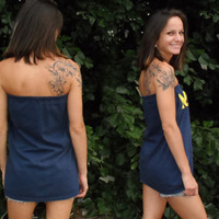 MICHIGAN Upcycled Clothing Ooak Sexy Women's Tube Top Tunic Dress in Navy Dark Blue ooak clothing S/M By Cvetinka