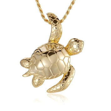 YELLOW GOLD PLATED SILVER 925 SHINY 3D HAWAIIAN SEA TURTLE SLIDER PENDANT