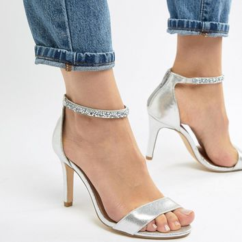 New Look Wide Fit Bling Ankle Strap Heeled Sandal at asos.com