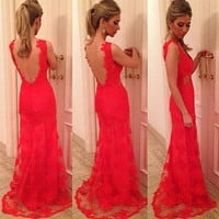 2016 New Hot Woman Lady Elegant Princess Long Evening Ball Prom Gown Formal Party Lace Dress Red Backless dress