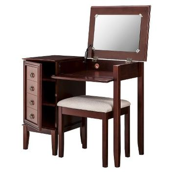 Linon Side Storage Vanity Set - Espresso