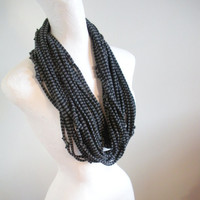 Steampunk Infinity Scarf Black Gray Stripes Upcycled Eco Cowl Scarf Winter Accessories Gifts Under 75 Black Friday Etsy Cyber Monday Etsy