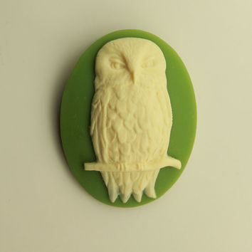 Handmade Ivory Owl on Green Oval Magnetic Brooch or Eyeglass Holder
