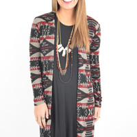 Maroon, Mocha, and Black Southwestern Patterned Cardigan with Faux Suede Elbow Patches