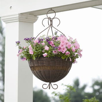 14-inch Hanging Planter in Antique Brown Resin Wicker with Coco Fiber Liner