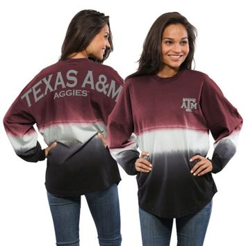 Texas A&M Aggies Women's Maroon Ombre Long Sleeve Dip-Dyed Spirit Jersey