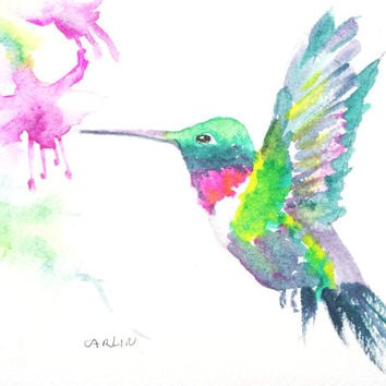 Original Watercolor, Hummingbird Painting, Ruby Throated Hummingbird, 5x7, bird art, colorful hummingbird, flying hummingbird