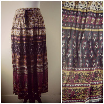 80s block print india skirt broomstick maxi skirt s\m hippie skirt boho skirt festival bohemian indian gauze skirts ethnic print high waist