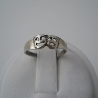 Sterling Silver 925 Comedy Tragedy Face Ring Happy Sad Size 5 925