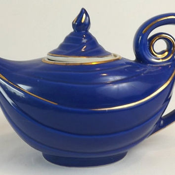 Hall Aladdin Teapot, Cobalt Blue Ceramic 6 Cup Tea Pot with Gold Trim, Mid Century Kitchen Display