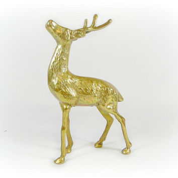 Vintage Brass Deer Figurine Buck Statue Animal Sculpture Brass Collectibles Mid Century Retro Gold Deer