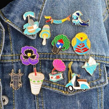 New cartoon Insect Phonograph Iceberg Ocean waves Flowers Animal collection brooch alloy enamel denim jacket collar pin jewelry