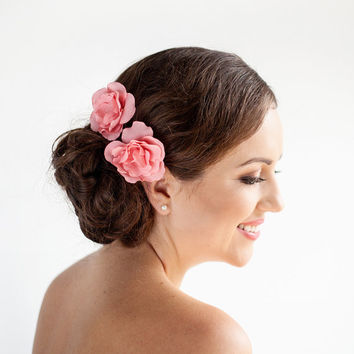 Coral Pink Flower Hair Piece of Two Blooms - Spring Wedding Hair Piece