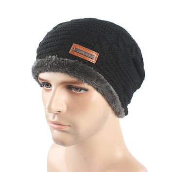 Warm Folded Woolen Hats for Men Women Cashmere Knitted Hat Bonnet Caps SM6