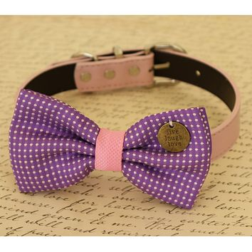 Purple Dog Bow Tie attached to collar, Pet wedding