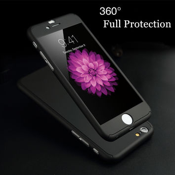 "luxury 360 Degree Full Coverage Protection Case for Apple iPhone 5 5S SE / 6 6S 4.7""/ Plus Shockproof Phone Cover +Tempered Film"