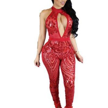JRRY Fashion Halter Neck Backless Women Sequin Jumpsuit Hollow Out Hot Selling Summer Ladies Sequinned Romper