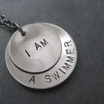 I AM a SWIMMER Necklace - Swimming Necklace on 18 inch gunmetal chain - Swimming Jewelry - Swim Team Necklace - Life Guard Necklace - Swim