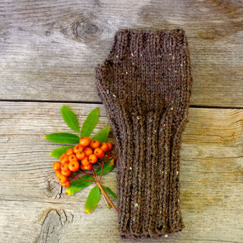 Fingerless Gloves in Barley Brown Tweed, Arm Warmers, Women's Fingerless Gloves, Knit Gloves, Long Fingerless Gloves, Brown Flecked