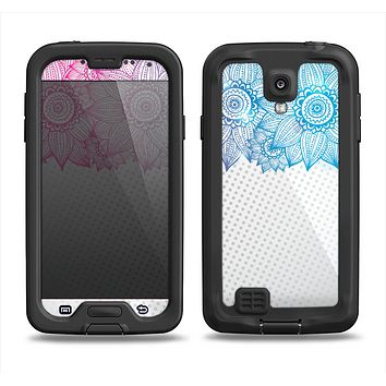 The Vibrant Vintage Polka & Sketch Pink-Blue Floral Samsung Galaxy S4 LifeProof Fre Case Skin Set