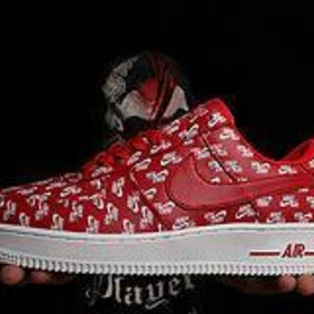 PEAPON Nike Air Force 1 Logo Print Red For Women Men Running Sport Casual Shoes Sneakers