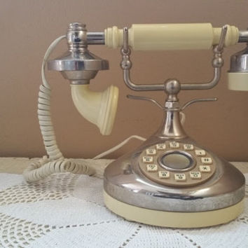 Vintage French Phone Working Touch Tone Push Button Telephone