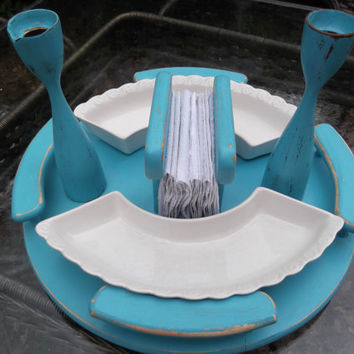 Lazy Susan serving tray, vintage glass trays, distressed shabby chic painted turquoise