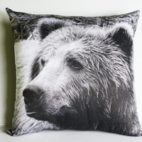 "GRIZZLY BEAR cushion, woodland  decorative pillow eco friendly organic cotton cushion cover, pillow, 16"", 41cms"