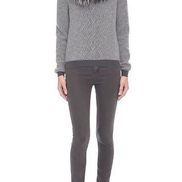 Moncler Wool & Cashmere Sweater with Removable Genuine Fox Fur Collar | Nordstrom