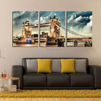(Unframed)3 Pieces Modern Landscape Painting London Tower Bridge Wall Art Pictures Room Decorative Canvas Post
