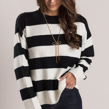 Andie Black Striped Sweater