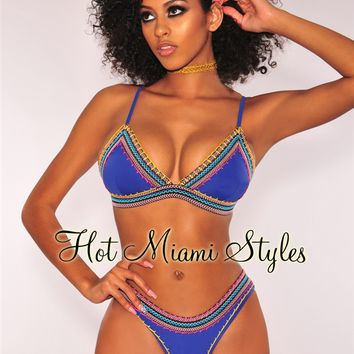 Royal Blue Multi Color Shell Stitch Padded Bikini