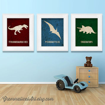 SALE Dinosaur Poster Set Dino Nursery Prints T-Rex Poster Tyrannosaurus Science Poster Baby Geekery Classroom Poster Gifts for Teacher