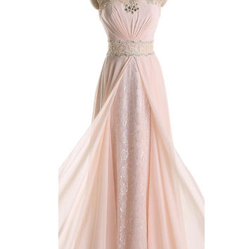 Pink Cap Sleeves Lace Long Beaded Chiffon Prom Dresses