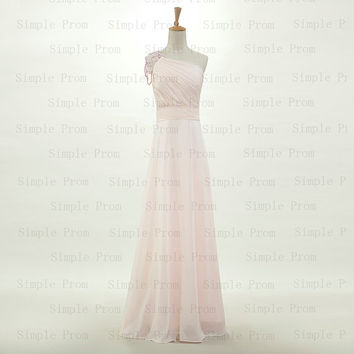 Custom A-line One-shoulder Floor-length Sleeveless Chiffon Beading Long Prom Dress Bridesmaid Dress Formal Evening Dress Party Dress 2013