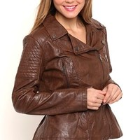 Faux Leather Peplum Jacket with Quilted Details