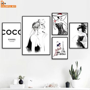 Paris Sexy Girl Fashion Quote Wall Art Canvas Painting Nordic Posters And Prints Black White Wall Pictures For Living Room Decor