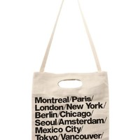 American Apparel Bull Denim Woven Cotton Cities Bag with Strap - Natural / One Size