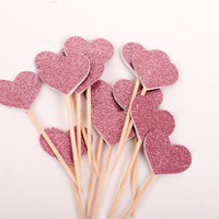 Princess Pink Glittered Hearts on Toothpicks, Hearts Food Picks, Party Decoration, Birthday Party Suppy, Bachelorette Party, Set of 24