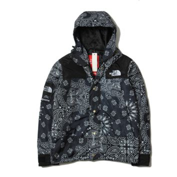 Tide brand SUPREME Harajuku wind cashew flower flowers hooded coat winter men and women jacket Black