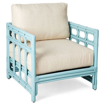 Eloise Rattan Lounge Chair, Aqua/Ivory, Accent & Occasional Chairs