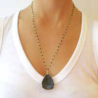 Gold Charcoal Druzy and Onyx Nugget Necklace