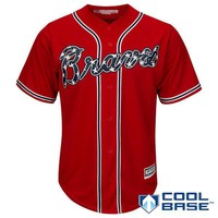 Atlanta Braves Cool Base MLB Custom Red Jersey