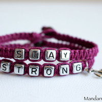 Stay Strong, Punk Pink Recovery Bracelet Set, Gift for Her, Hand Knotted Hemp Jewelry with Anchor Charm, It Gets Better