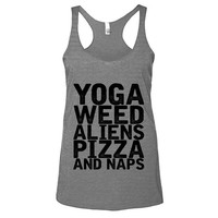 Yoga Weed Aliens Pizza And Naps Womens Athletic Grey Racerback Tank - Graphic Tee - Clothing - Gift