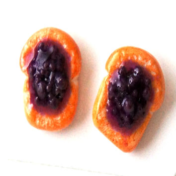 Jelly Bread Toast Stud Earrings