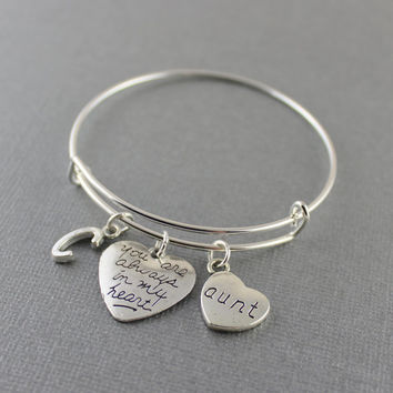 Aunt Memorial Bracelet - Aunt Memorial Bangle Bracelet - You Are Always In My Heart Aunt Memorial Jewelry - Select Initial In Drop Down Men