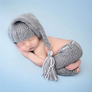 ISOCUTE New Handmade Knitting Soft Hat Pants Set Baby Clothing Accessories For 0-1 Months Newborn Baby Photography Props